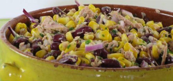 Salade de maïs, haricots rouges et thon