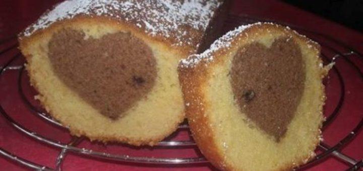 Cake vanille et son cœur en chocolat