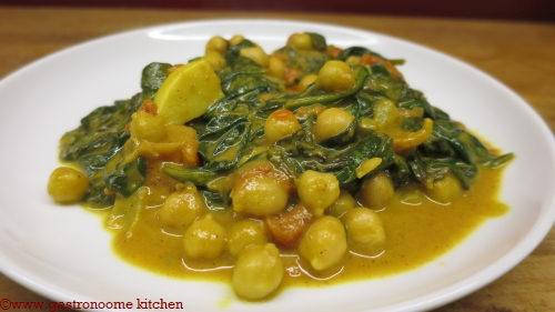 vegan - Curry de pois chiche aux épinards