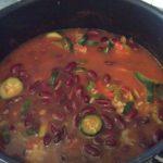 Riz et haricots rouges aux courgettes et aux poivrons
