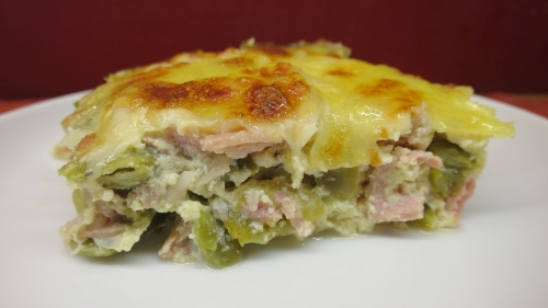 Gratin de haricots plats au jambon light